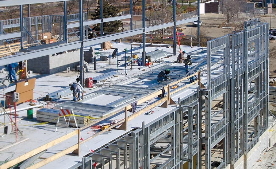 Light gauge steel framing in commercial developments